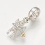 Brass European Dangle Beads, Large Hole Pendants, Cupid, Platinum & Golden, 25mm, Hole: 4.5mm; Pendant: 16x11mm