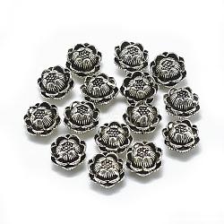 Perles 925 en argent sterling, sculpté 925, lotus, argent antique, 8.5x6mm, Trou: 0.8~1.2mm(STER-T002-95AS)