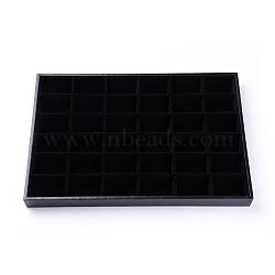 деревянные дисплеи серьги, обтянута бархатом, прямоугольник, черный, 35x24x3 cm(ODIS-F003-01)