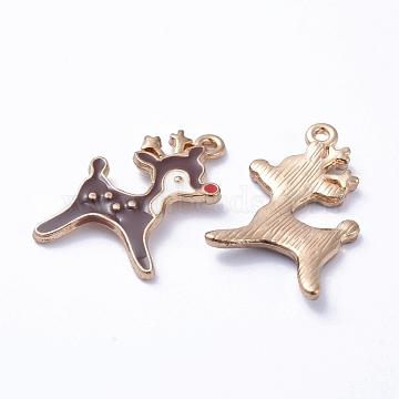 Golden Plated Alloy Enamel Pendants, for Christmas, Deer, Coffee, 21x14x2mm, Hole: 1mm(X-ENAM-D040-E04-G)