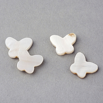 Natural Sea Shell Beads, Butterfly, Creamy White, 11.5x14x2.5mm, Hole: 1.5mm(X-SSHEL-Q296-30)