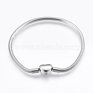 304 Stainless Steel European Style Round Snake Chains Bracelet Making, with Clasps, Stainless Steel Color, 7-7/8 inches(20cm); 3mm(STAS-I097-004A-P)