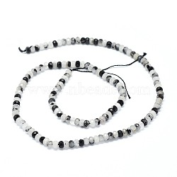Natural Tourmalinated Quartz/Black Rutilated Quartz Beads Strands, Faceted, Rondelle, 3.5~4x2~2.5mm, Hole: 0.7mm; about 43pcs/strand, 15.5''(39.5cm)