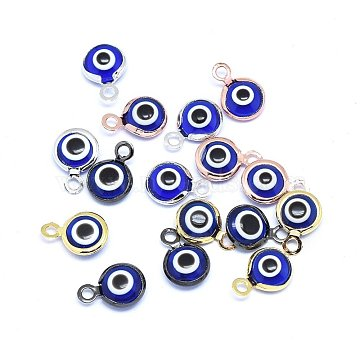 Handmade Evil Eye Lampwork Charms, with Brass Findings, Flat Round, Blue, Mixed Color, 10x6.5x3mm, Hole: 1.5mm(X-KK-F764-13-04)