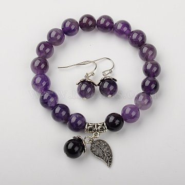 Natural Amethyst Jewelry Sets, Bracelets & Earrings, with Brass Spacer Beads and Brass Hooks, 2 inches(5.2cm),  27mm(SJEW-JS00696-05)