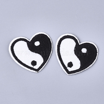 Feng Shui Computerized Embroidery Cloth Iron On Patches, Costume Accessories, Appliques, Heart with Yin Yang, Black & White, 30x34x1mm(X-FIND-T030-098)