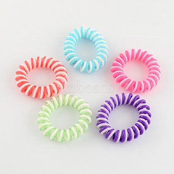 Telephone Cord Elastic Hair Ties, Ponytail Holder, Plastic, Mixed Color, 55mm(OHAR-R116-13)