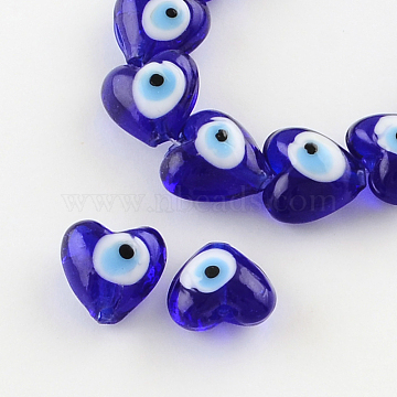 Heart Evil Eye Lampwork Bead Strands, Blue, 13~15x15x9mm, Hole: 2mm, about 24pcs/strand, 11.4 inches(X-LAMP-R119-01)