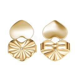 Environmental Electroplate Brass Ear Nuts, Earring Backs, Heart, Real 18K Gold Plated, 14x10mm(EJEW-AA00266-47G)