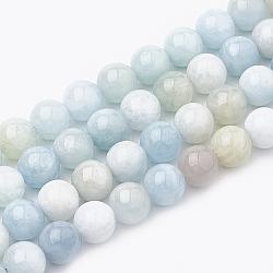 """Chapelets de perles en aigue-marine naturelle, rond, 8~9mm, trou: 1mm; environ 45~48 pcs/chapelet, 15.7""""(G-S333-8mm-003)"""