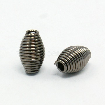 Iron Spring Beads, Coil Beads, Gunmetal, 9mmx6mm, hole: 2mm, about 2400pcs/1000g(E029Y-B)