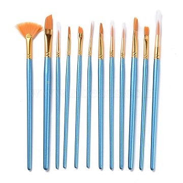 Wooden Paint Brushes Pens Sets, For Watercolor Oil Painting, Sky Blue, 198~212mm; 12pcs/set(AJEW-L083-04)