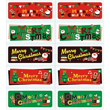 Sealing Stickers, Label Paster Picture Stickers, Christmas Theme, Mixed Color, 60x25mm, 10pcs/sheet(X-AJEW-L062-09)