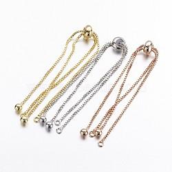 """Bracelet chaîne boîte laiton étoffe, fabrication de bracelets coulissants, Sans cadmium & sans nickel & sans plomb, couleur mixte, 9-1/2"""" (240 mm); 1mm, trou: 1mm; longueur de la chaîne simple: environ 120mm(KK-G291-01-NR)"""