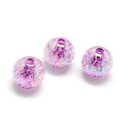 Perles acryliques craquelées, couleur ab, couleur à l'intérieur , rond, violet, 18mm, trou: 4 mm; environ 150 pcs / 500 g(MACR-S825-18mm-D)