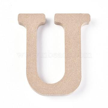 Letter Unfinished Wood Slices, Laser Cut Wood Shapes, for DIY Painting Ornament Christmas Home Decor Pendants, Letter.U, 100x89x15mm(DIY-WH0162-62U)