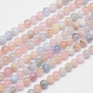 Natural Morganite Round Bead Strands, 4mm, Hole: 0.8mm; about 96pcs/strand, 15.5inches(X-G-I159-4mm)