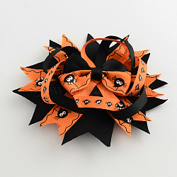 Halloween gros-grain bowknot alligator pinces à cheveux, avec des clips de fer, platine, orange foncé, 135x135mm(PHAR-R165-10)