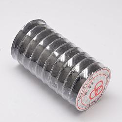 Chaîne de cristal élastique plat, fil de perles élastique, pour la fabrication de bracelets élastiques, noir, 0.8 mm; 10 m / rouleau(EW-O001-02K)