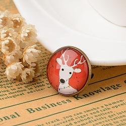 Noël broches de sécurité de bijoux, avec le fer motif imprimé verre Broche, plat rond, colorées, 22mm(JEWB-K001-01AB)