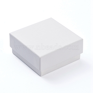 Cardboard Gift Box Jewelry Set Boxes, for Necklace, Ring, with Black Sponge Inside, Square, White, 7.5x7.5x3.5cm(X-CBOX-F004-02B)