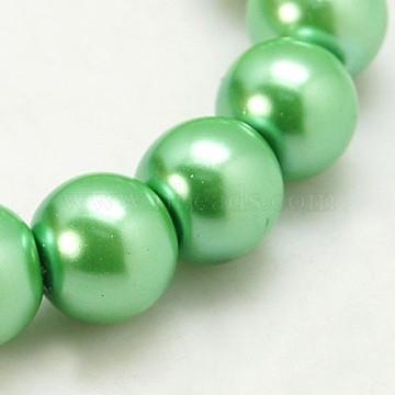 6mm Aquamarine Round Glass Pearl Beads
