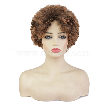 Fluffy Wigs, African Wig Female Short Cury Wigs, High Temperature Heat ResistanFiber Wigs, CoconutBrown, 6.29inches(16cm)(OHAR-G009-03)