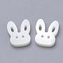 бисера пресноводных оболочки, кролика головы, кремово-белый, 12x14.5x3 mm, отверстия: 1 mm