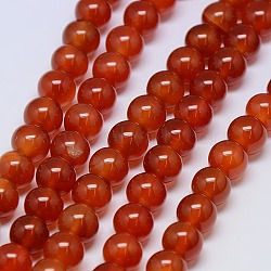 Natural Agate Round Beads Strand, Dyed, Crimson, 8mm, Hole: 1mm; about 48pcs/strand, 15.74inches