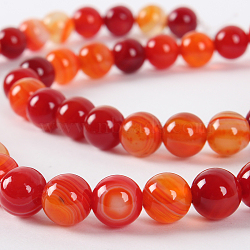 Natural Gemstone Agate Round Bead Strands, Dyed, OrangeRed, 6mm, Hole: 1mm; about 63pcs/strand, 15.35
