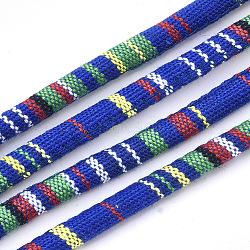 Cordes en tissu de style ethnique, avec cordon en coton à l'intérieur, bleu, 6.5~7x5 mm; environ 100 m / bundle(OCOR-S034-03)