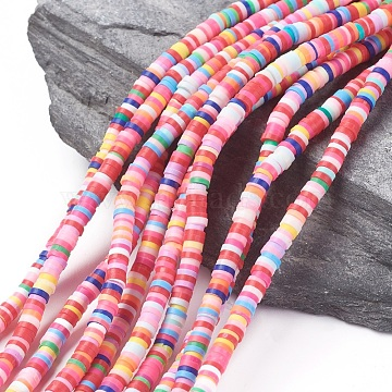 4mm Mixed Color Flat Round Polymer Clay Beads