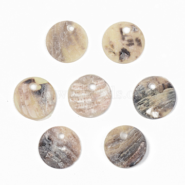 Natural Akoya Shell Charms, Mother of Pearl Shell Charms, Flat Round, PeachPuff, 9x1mm, Hole: 1.4mm(SHEL-R048-027)