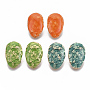 Light Gold Mixed Color Teardrop Iron Stud Earring Findings(IFIN-N003-22)