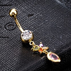 Environmental Brass Cubic Zirconia Navel Ring, Belly Rings, with Use Stainless Steel Findings, Real 18K Gold Plated, Butterfly, LavenderBlush, 44x9mm(AJEW-EE0004-04C)