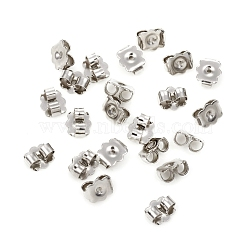 304 Stainless Steel Ear Nuts, Earring Backs, Flower, Stainless Steel Color, 6x5.5x3mm, Hole: 0.8mm(X-STAS-G224-12P)
