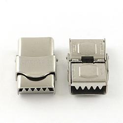 Surface lisse fermoirs de bande de montre 201 en acier inoxydable, couleur inoxydable, 25x15.5x8mm, Trou: 12x3mm(STAS-R063-79)