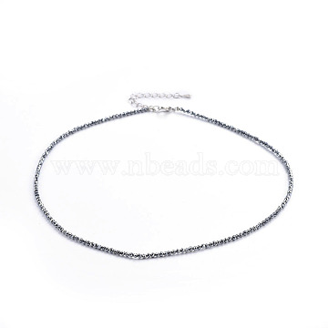 Terahertz Stone Beaded Necklaces, with Brass Findings, Round, Faceted, Platinum, 15.3 inches(39cm); beads: 2mm(NJEW-F245-A05)