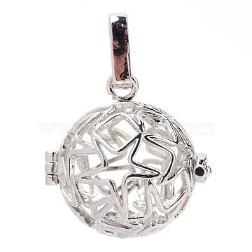 Rack Plating Brass Cage Pendants, For Chime Ball Pendant Necklaces Making, Hollow Round with Star, Platinum, 23.5x24x18mm, Hole: 3.5x7mm; inner measure: 17mm(KK-S751-063P)