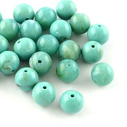 Perles rondes en acrylique d'imitation pierre précieuse, turquoise, 6mm, Trou: 2mm(X-OACR-R029-6mm-06)