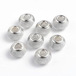 Perles Européennes en acrylique avec grand trou, laiton avec ton argent noyaux doubles, rondelle, argenterie, 14x9mm, Trou: 5mm(OPDL-R118-09B)