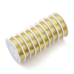 Fil de bijoux en cuivre, Plaqué longue durée, or clair, 21 jauge, 0.7 mm; 3.1 m / rouleau(X-CWIR-Q006-0.7mm-G)