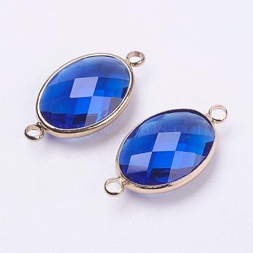 Light Gold RoyalBlue Oval Glass Links