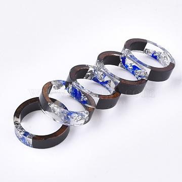 Epoxy Resin & Ebony Wood  Rings, with Dried Flower, Silver Foil, Royal Blue, 17mm(RJEW-S043-03B-01)