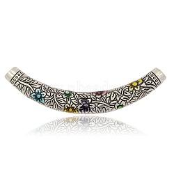 Émail d'alliage de perles de tube, creux, siphon avec motif de fleurs, argent antique, colorées, 67x9mm, Trou: 4mm(ENAM-J178-01AS)