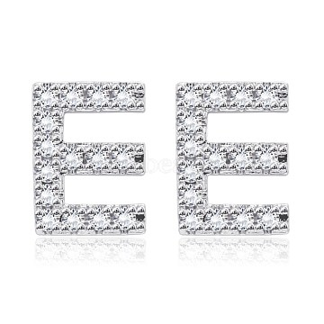 Brass Cubic Zirconia Stud Earrings, with Ear Nuts, Alphabet, Letter E, Clear, Platinum(EJEW-BB35118-E)