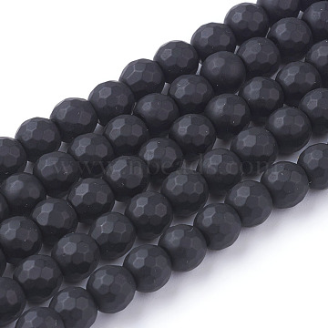 Synthetic Black Stone Beads Strands, Dyed, Faceted, Frosted, Round, Black, 6mm(G-C059-6mm-1)