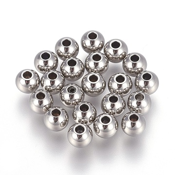 Stainless Steel Color Round Stainless Steel Beads