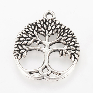 Tibetan Style Alloy Pendants, Flat Round with Tree, Cadmium Free & Lead Free, Antique Silver, 26x23x2.5mm, Hole: 2mm(X-TIBEP-Q064-35AS-RS)