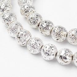 Chapelets de perles en lave naturelle électrolytique, rond, cahoteuse, Plaqué Argent, 8mm, trou: 1mm; environ 44 pcs/chapelet, 14.3'' (36.5 cm)(G-K259-59-8mm-01)